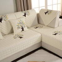 田园客厅组合实木真皮沙发垫布艺全棉四季通用防滑坐垫沙发套罩巾