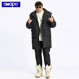 【限时抢购到手价:285元】AMAPO潮牌大码男装长款加厚保暖外套加肥加大码宽松连帽羽绒服男