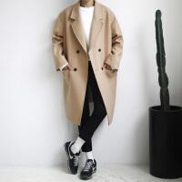 冬季新款韩版羊绒大衣男中长款青年学生宽松休闲男士呢子韩范大衣