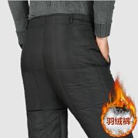 爸爸羽绒裤中年男士白鸭绒无缝内胆裤中老年大码内穿加厚保暖棉裤