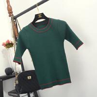 2016秋季新款条纹冰丝针织衫女短袖套头毛衣短款中袖修身上衣T恤