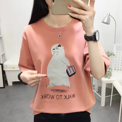 RANJU 然聚2018女装夏季新品新款韩版休闲减龄卡通印花磨毛加厚宽松短袖T恤