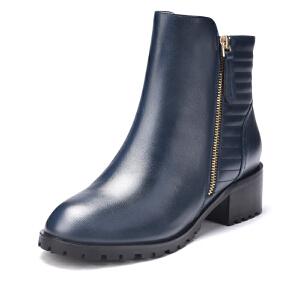 富贵鸟女靴 冬季新款英伦风短靴女粗跟马丁靴防水台靴子女