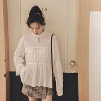 半高领复古雪纺衫2019冬季新款女韩版宽松长袖洋气百搭打底蕾丝衫