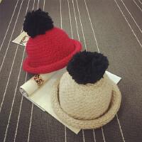女童帽宝宝帽子秋冬渔夫帽男儿童帽大毛球盆帽加厚保暖圆顶礼帽潮