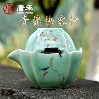 唐丰便携快客杯一壶一杯 青瓷茶杯紫砂茶壶旅行茶具收纳布包