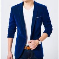 男士秋冬季新款韩版丝绒小西装男商务正装潮大码男士修身西服外套