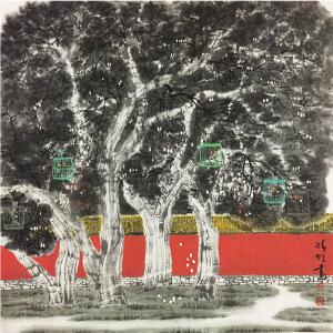 赵准旺《城外遛鸟》著名画家