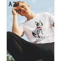 以纯线上品牌a21 2017夏装新款修身圆领短袖T男卡通印花休闲T恤 170/84A(M)