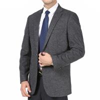 中年男士商务休闲西装中老年羊毛呢子西服爸爸外套上衣单西加大码 灰色