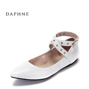 Daphne/达芙妮 春夏款尖头休闲单鞋 甜美皮带扣芭蕾舞平底鞋