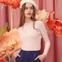 A21春装新品女装长袖T恤 休闲半高领纯色粉色罗纹淑女上衣长袖衫