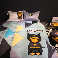 Bape安逸猿大嘴卡通猴潮牌boy床单床上用品网红款四件套全棉纯棉2
