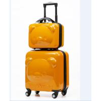 七夕礼物拉杆箱可爱儿童旅行箱小孩18寸万向轮行李登机箱女男宝宝拖箱 橘色子母套装 20寸万向轮(实际有22寸)
