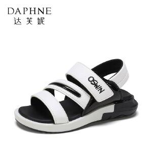 【达芙妮超品日 2件3折】鞋柜夏季中小童时尚撞色男童沙滩鞋软底儿童凉鞋