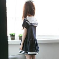 女童连衣裙夏中大童学院风六一表演班服薄款短袖海军风儿童水手服
