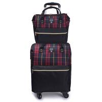 网店代理牛津布拉杆箱旅游格子旅行包多功能子母万向轮行李箱 18寸