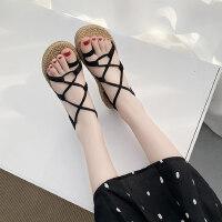 平底学生简约百搭chic韩版细带网红同款罗马沙滩凉鞋女夏