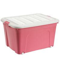 收纳箱子塑料盒子带盖整理箱大号收纳盒家用衣服玩具储物箱三件套 三件套【80L+120L+170L】 粉色