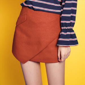 七格格冬新款 纯色短裙自然腰显瘦半身裙女CX782