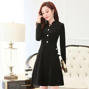 2018潮流新款春装纯色韩版女装长袖收腰中长款时尚修身显瘦连衣裙