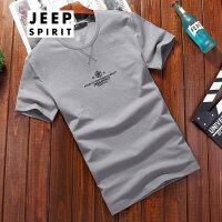 吉普JEEP短袖T恤夏款棉质男士短t圆领简约薄款打底衫男士短袖t恤衫