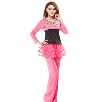 广场舞服装套装上衣拼接绣花长袖下衣裙裤练习比赛服 跳舞服健身服短袖上衣裙子