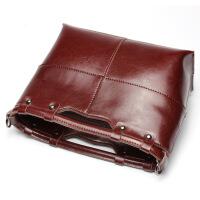 七夕礼物2018新款真皮女包女士品牌牛皮包包单肩包手提包箱包 酒红色