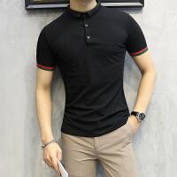 短袖polo衫男士翻领T恤修身袖子织带撞色帅气