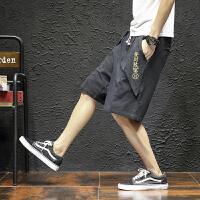 夏季中国风休闲短裤男士大码宽松五分裤潮流沙滩裤胖子薄款男裤子 黑色