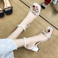 户外时尚一字带透明中跟女士凉鞋仙女风百搭配裙子的鞋子