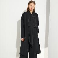 Amii极简气质时尚外套女2021春季新款中长款外套