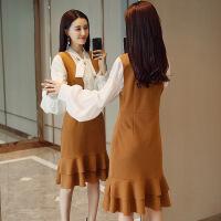 时尚两件套女2018春装新款韩版灯笼袖蝴蝶结衬衫荷叶边背心裙套装