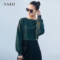 【618大促-每满100减50】Amii[极简主义]街头潮感 加绒短款卫衣女 2017冬新一字领宽松套头