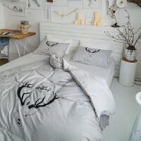 北欧四件套全棉简约小清新纯棉学生宿舍被套三件套1.8m米床上用品 2.0m(6.6英尺)床 床单款套件