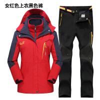 2018034857954冲锋衣男冬季三合一两件套女加绒加厚登山服套装防水透气大码外套