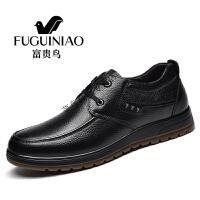 富贵鸟男鞋秋冬商务皮鞋男爸爸鞋系带厚底男士休闲鞋父鞋子 A709014黑色 38