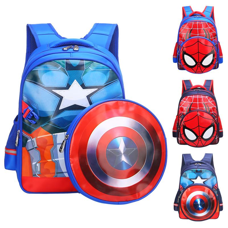 新款美国队长蜘蛛侠小学生书包卡通儿童书包1-3-6年级男减负护脊  g3s