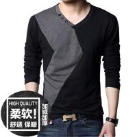 春秋新款男士长袖T恤青年V领薄款纯棉秋衣上衣韩版打底衫外穿潮流