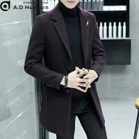 男士潮牌羊绒呢子大衣男韩版修身中长款青年韩版修冬季英伦风帅气 3