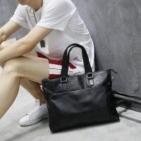 新款真皮男包手提包男士单肩斜挎包包电脑包横款商务公文包男韩版 黑色
