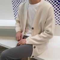 MRCYC 日系男士毛衣V领针织衫男开衫纯色长袖毛线衣单排扣外套男