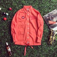 秋季韩版刺绣酒红色纯色修身长袖衬衫青少年男士休闲工装衬衣外套