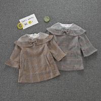 童装秋款洋气女童复古格子连衣裙宝宝喇叭袖荷叶边长袖裙子1-6岁