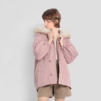 【超值一口价:769】LILY女装温柔干枯玫瑰粉宽松纽扣中长款毛领羽绒服外套