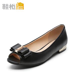 达芙妮旗下鞋柜/苹绮低跟鱼嘴舒适蝴蝶结浅口女单鞋