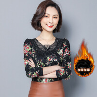 2017秋冬新款 韩版大码女装 加绒加厚V领长袖印花蕾丝打底衫女