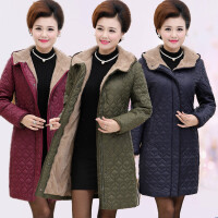新款女装加绒加厚中老年棉袄女士连帽冬装中年加大码加肥棉衣