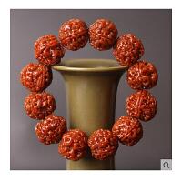 尼泊尔5五瓣大金刚菩提子红皮机刷包浆玉化佛珠文玩男士手串手链七夕 抖音 19-20之间 20mm