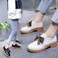 新款平底蝴蝶结女温柔鞋子 百搭学生女鞋软底舒适单鞋女 英伦风小皮鞋女